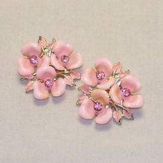 Vintage Flower Earrings Pink Enamel Rhinestones by 4dollsintime, $12.50