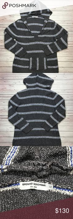 Opening Ceremony Baja M Hoodie Woven Sweater L Opening Ceremony Baja Pullover Hooded Sweater Supersoft knit baja poncho sweater in Dark Heather Gray, white with grey/aqua stripes. Features a v-neck, peaked hood, kangaroo pocket and ribbing at neck and cuffs.  Men's Size Large  New Without Tag Opening Ceremony Sweaters V-Neck