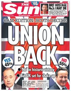 Scotland says no: newspaper front pages – in pictures | Media | The Sun