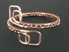 Modern Wire Wrapped Copper Bracelet Womens Wire by BonzerBeads