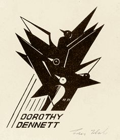 Eric Thake bookplate for Dorothy Dennett. This bookplate, featuring a stylised flock of birds, was for Dorothy Dennett's collection of art books. 1934