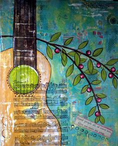 Mixed Media Guitar by my little red shoe @ Flickr I should do a painting of a guitar for Wade...