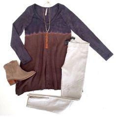 Tie Dyin' on a Monday  Cali Tie Dye Tunic $56 Grey Piper Jegging $54 Nicole Necklace $18 ShopAliya.com  #mondays #ShopAliya #shopmycloset #tiedye