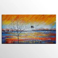 Buy Large Canvas Art Online, Abstract Art, Original Oil Painting for Sale | 4 Love Birds Painting, Hand Painting Art, Large Painting, Painting Canvas, Colorful Paintings, Acrylic Paintings, Acrylic Art, Oil Paintings, Watercolor Paintings