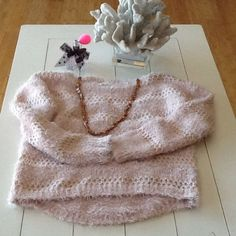 Soft Pink Oversized Sweater with necklace shown. JJ Basics Oversized Pink Fuzzy Sweater. Back of sweater is longer than the front.  Soft and cuddly with a nice pair of jeans!  The necklace adds the perfect finish! JJ Basics Sweaters Crew & Scoop Necks