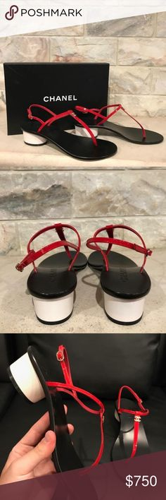 Chanel 17S Red Patent Black Thong CC Circle Heel Chanel 17S Red Patent Black Thong CC Circle Heel Sandal Flip Flop Flat 40  ********** Chanel **********  Brand: Chanel Size: 40 (know your Chanel size)  Name: Circle Color: Red Style: 17S Style#: G32769X01012 Material: Patent Calfskin Leather Red patent T strap thong front CC white logo front Black sole Patent calfskin leather material Adjustable ankle strap buckle White circle patent back heel Brand new in box, comes with original box and…