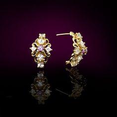 Gold Gemstone Earrings, Gold Purple Earring, Gemstone Studs, Vintage Gold Stud Earrings, Gold Birthstone Earrings, Bridal Gemstone Earrings