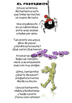 "Spanish Halloween poem for kids: ""El fantasma."" poems for kids Spanish Help, Spanish Lessons For Kids, Learning Spanish For Kids, Spanish Basics, Spanish Lesson Plans, Teaching Spanish, Teaching Kids, Halloween Poems For Kids, Halloween Stuff"