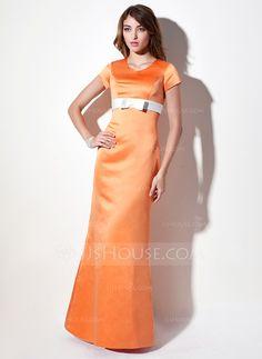 Sheath/Column V-neck Floor-Length Satin Bridesmaid Dress With Sash Bow(s) (007001493)