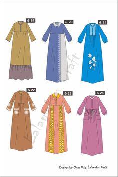 Dress Design Patterns, Dress Design Sketches, Fashion Design Sketches, Abaya Fashion, Muslim Fashion, African Blouses, Dress Anak, Abaya Designs, Kids Fashion