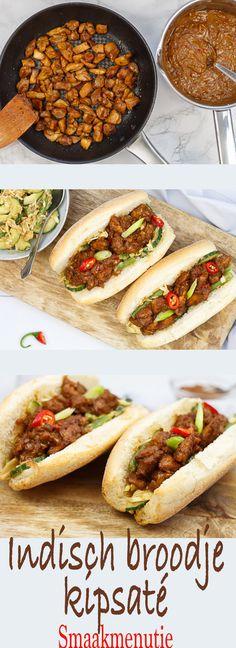 Indisch broodje kipsaté #recept #indisch #broodje #kipsaté #saté #lunch