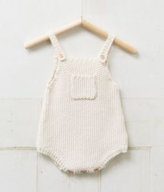 Knitted moss stitch baby romper. Love it.