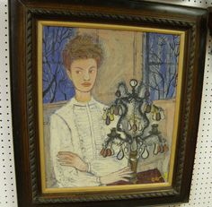Woman and Lamp, oil on canvas., 24 x 20, Signed 'E. Ramsey' JPG