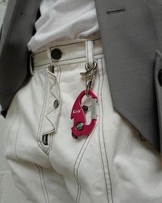 "0e41872e6866 51PERCENT on Instagram  ""Logo key-ring pink red. Paneled pants white"""