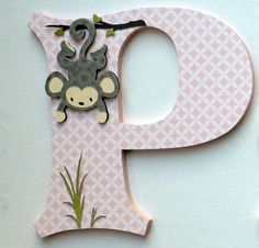 Girls Monkey Themed Childrens Letters - 8 Personalized Childrens Wood Letters