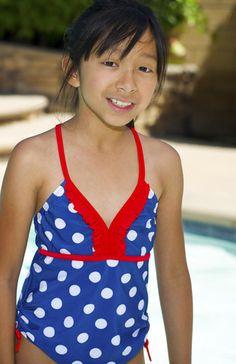 Girls Navy Polka Dot One Piece w/ Matching Flip-Flops & Goggles