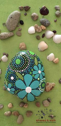 Hand Painted River Rock - Mandala Inspired Design - Rock Art - Zen Art - blue luminescence collection #37 - $33