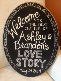 Hand Painted Welcome Sign for Bridal Shower or Wedding Reception on Etsy, $40.00