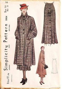 1930's Vintage Simplicity sewing pattern number 1904. Swagger coat with box yoke cut in one the sleeves. Full sleeves are tucked into novel cuff. Skirt have four-gore front and buttons from waist to hem; plain in back.