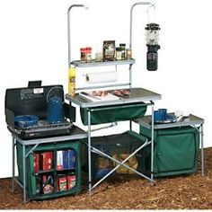 This happens to be the Cabela's Standard Camp Kitchen, there are other comparable models. If you want to make your unwelcomed experience as stress free and as home like as possible, I recommend having a screened kitchen and kitchen set on this order, with two 'pantries' for storage.