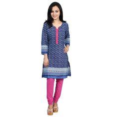 Printed Cotton Kurti Blue- Satrangi Bazar kurtis