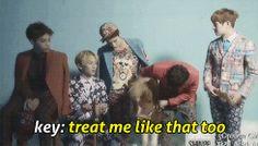 """Minho (SHINee) treating Key like a little pony on the set of """"Dream Girl"""" MV.  (.gif set)."""