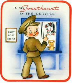 """Soldier """"To My Sweetheart in the Service"""" WWII Era Valentine Card"""
