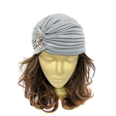 Glamorous vintage style turban hat with peacock rhinestone embellishment, perfect for Great Gatsby, Downton Abbey, Old Hollywood themed party or art