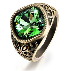 Retro Bronze Color Green Austrian Crystal Ring Hollow Design Cocktail Ring R450