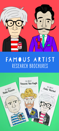 Famous artist research brochures - Each printable brochure includes an illustration of the artist, one of their famous quotes, an illu - Art History Periods, Art History Major, Art History Lessons, History For Kids, Art Lessons, Art History Projects For Kids, Art Projects, Famous Artist Names, Famous Artists For Kids