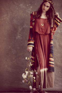 Autumn fall boho chic outfit. Kaftan like dress hand woven feel fall colors.