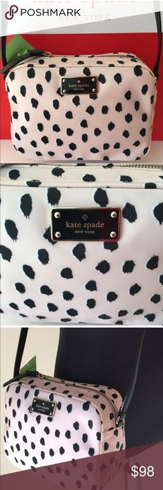 🆕 KATE SPADE NEW CROSSBODY BAG 💯 AUTHENTIC KATE SPADE  NEW WITH TAGS NEVER USED SHOULDER / CROSSBODY BAG 100% AUTHENTIC. SO STUNNING AND STYLISH. BKUSH PINK AND BLACK AND PERFECT FOR ANY OCCASION. WONDERFUL BAG FOR THE WOMAN ON THE GO. THIS BAG HAS A LONG ADJUSTABLE STRAP. THE BAG MEASURES 8 INCHES WIDE BY 6 INCHES TALL AND 3 INCHES DEEP. kate spade Bags Crossbody Bags