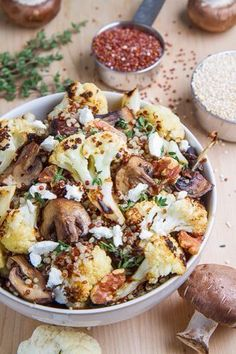 Roasted Cauliflower & Mushroom Quinoa Stuff into a roasted poblano pepper ingredients Vegan Style     1/2 small head cauliflower, cut up     8 ounces mushrooms, quartered    Coconut oil     1/2 teaspoon thyme, chopped     salt and pepper to taste     1 cup quinoa, well rinsed     1 3/4 cups water