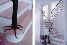Love this.  A wrought iron banister that looks like a tree.