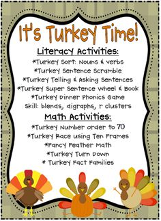 november stations: literacy and math ideas