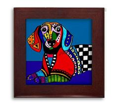 Dachshund Lovers Gift - Doxie Mexican Folk Art Ceramic Framed Tile by Heather Galler - Ready To Hang Tile Frame Gift