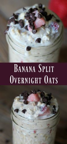 All the flavors of a banana split mixed into a wholesome delicious overnight oats recipe! These are perfect to add to your meal prep recipe rotation. Overnight oatmeal is one of my favorite summer time breakfast recipes. Make Ahead Breakfast, Healthy Breakfast Recipes, Healthy Breakfasts, Healthy Recipes, Breakfast Smoothies, Healthy Food, Clean Breakfast, Overnight Breakfast, Mexican Breakfast