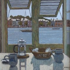 "huariqueje: "" View Across the Harbour - Mike Hall British Acrylic on canvas, 44 x 44 cms. Window View, Window Art, Open Window, Hall Painting, Street Gallery, Through The Window, Home Art, Windows, Ramen"