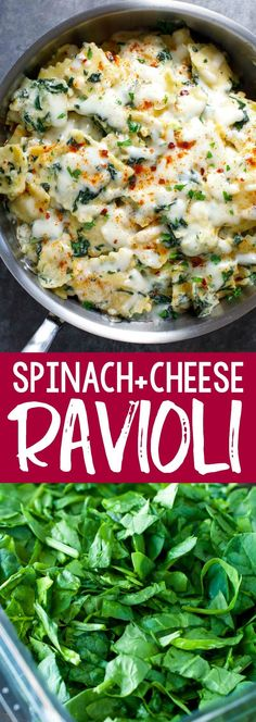 Creamy Spinach and Cheese Ravioli with homemade garlic parmesan Alfredo sauce is a quick, easy, and totally tasty way to jazz up store-bought ravioli! #vegetarian #spinach #cheese #pasta #ravioli #dinner