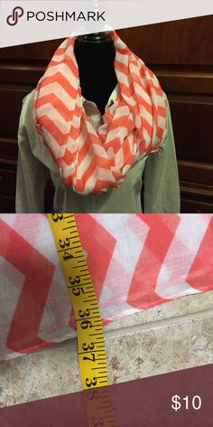 Infinity scarf Beautiful coral and white chevron infinity scarf. Very lightweight and perfect for spring time and summer! 36 inches wide Accessories Scarves & Wraps