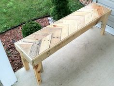 Reclaimed chevron style pallet bench indoor outdoor by Kustomwood