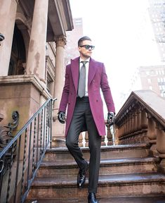 """everybodylovessuits: """" streets-of-burberry: """" Aleks Musika """" Great overcoat! Even truly bold colors can work with suits as long as the suit you are wearing is quite formal/ plain. With detailed shirts..."""