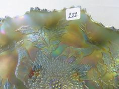"Lot # : 222 - Fenton 10"" blue Stag & Holly footed ruffled  $75"