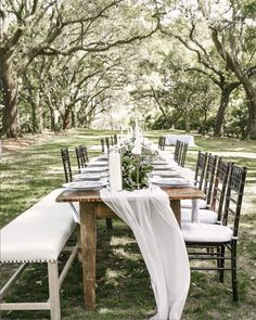 Nothing is better than an intimate dinner under t he majestic oaks at Legare Waring Plantation. Custom georgette runner down the center of the tablescape by The Social Spool. Wedding Decorations, Table Decorations, Outdoor Entertaining, Table Runners, Tablescapes, Custom Design, Wall Decor, House Design, Dinner