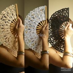 Cameo Theme with White Lace Fans   This fantastic lace fan is hand embroidered with lace. the handle is ...