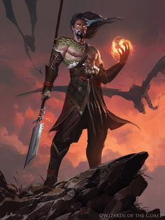 "adventure-fantasy: "" Sarkhan, Fireblood - Magic the Gathering by "" Fantasy Warrior, Fantasy Rpg, Fantasy Artwork, Dark Fantasy, Dungeons And Dragons Characters, Dnd Characters, Fantasy Characters, Fantasy Inspiration, Character Inspiration"