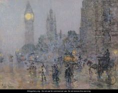 frederick childe hassam | Nocturne-Big Ben - Frederick Childe Hassam - WikiGallery.org, the ...