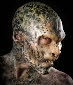 Deep beneath the post-apocalyptic city, in tunnels left by another civilization, lives Sinister. Reptilian, commanding, evil or simply misunderstood. Sfx Makeup, Costume Makeup, Makeup Art, Prosthetic Makeup, Donnie Darko, Maquillaje Halloween, Halloween Makeup, Creature Feature, Creature Design