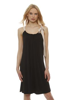 Black sleeveless jersey dress with fuchsia bow that ties at the neck and prepares you perfectly for the warmer summer months ! Summer Months, Dress With Bow, Spring Summer 2015, Spring Summer Fashion, Ties, Victoria, Tank Tops, Shopping, Black