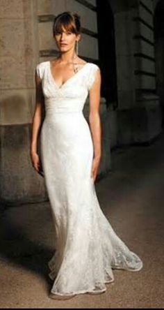 Simple lace wedding dress.